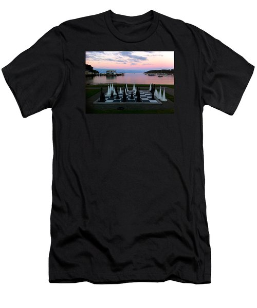 Sunset Chess At Half Moon Bay Men's T-Shirt (Slim Fit) by Venetia Featherstone-Witty