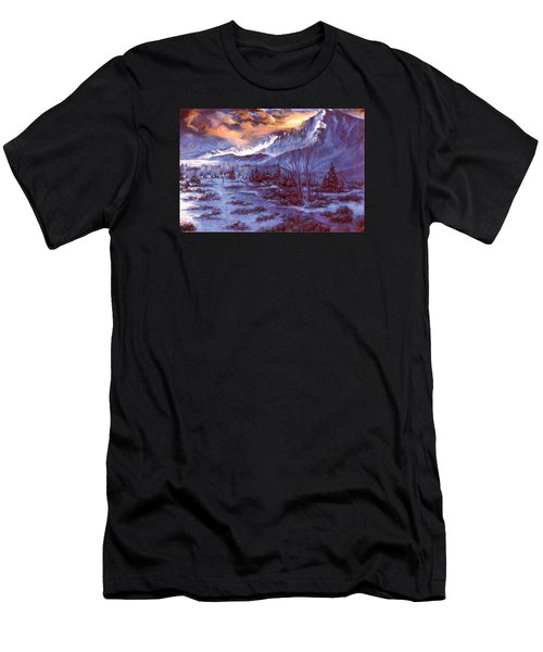 Men's T-Shirt (Slim Fit) featuring the painting Sunset Indian Village by Donna Tucker