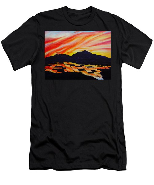 Men's T-Shirt (Slim Fit) featuring the painting Sunset On Rice Fields by Michele Myers