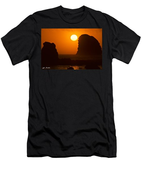Sunset Over The Pacific Ocean With Rock Stacks Men's T-Shirt (Slim Fit) by Jeff Goulden