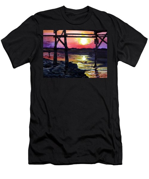 Men's T-Shirt (Slim Fit) featuring the painting Sunset Pier by Lil Taylor