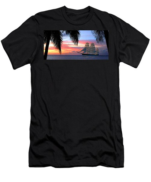 Sunset Sailboat Filtered Men's T-Shirt (Athletic Fit)