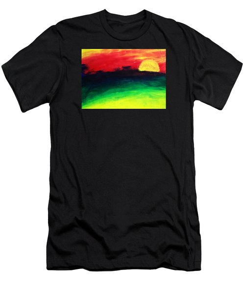 Men's T-Shirt (Slim Fit) featuring the painting Sunset by Salman Ravish