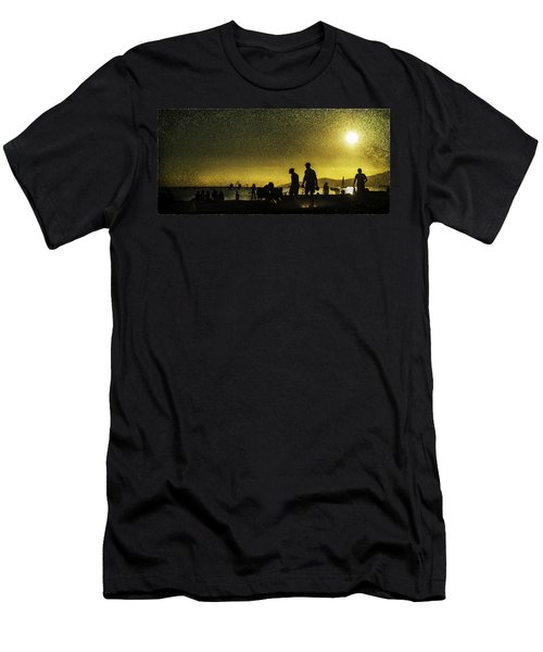 Men's T-Shirt (Slim Fit) featuring the photograph Sunset Silhouette Of People At The Beach by Peter v Quenter