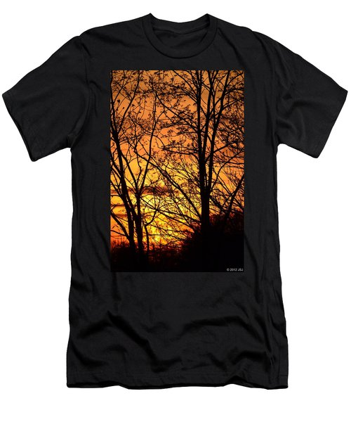 Sunset Silhouettes Behind The George Washington Masonic Memorial Men's T-Shirt (Slim Fit) by Jeff at JSJ Photography