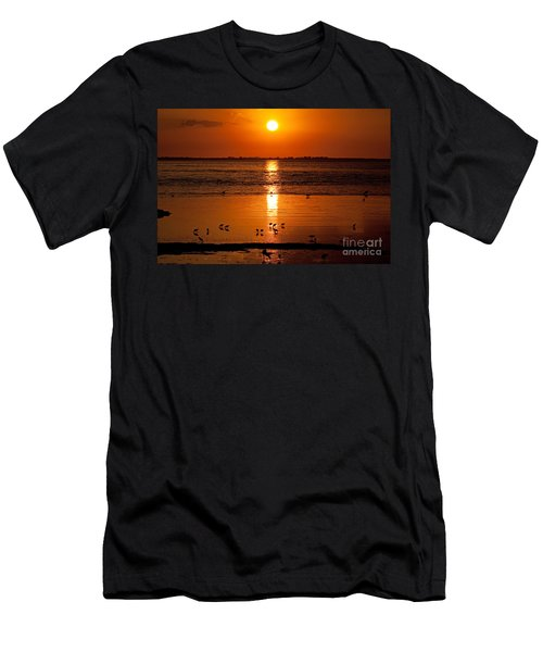Men's T-Shirt (Slim Fit) featuring the photograph Sunset With The Birds Photo by Meg Rousher