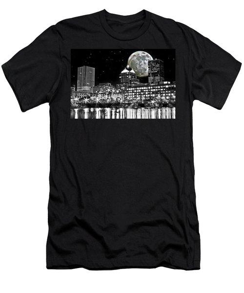 Super Moon Over Rochester Men's T-Shirt (Slim Fit) by Richard Engelbrecht