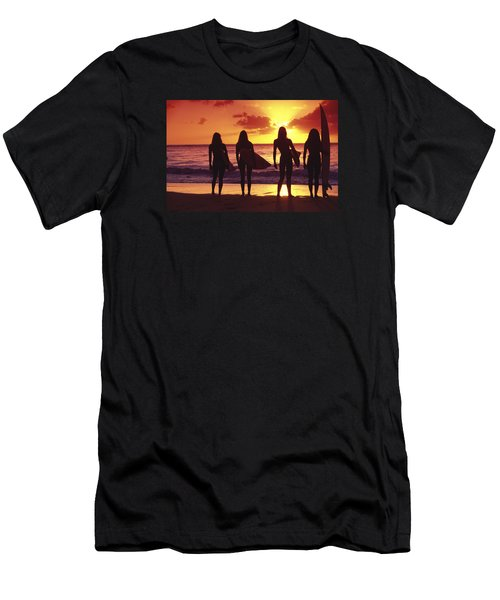 Surfer Girl Silhouettes Men's T-Shirt (Athletic Fit)