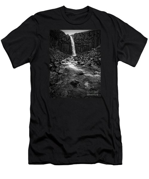 Svartifoss Waterfall In Black And White Men's T-Shirt (Slim Fit) by IPics Photography