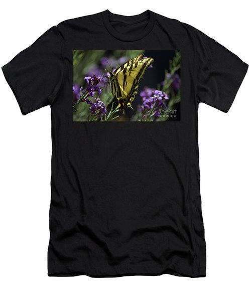 Swallowtail Butterfly On Lavender  Men's T-Shirt (Athletic Fit)