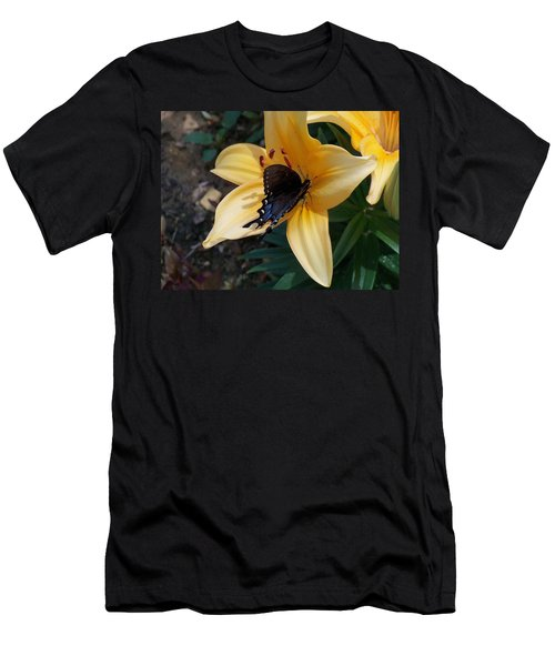 Men's T-Shirt (Slim Fit) featuring the photograph Swallowtail On Asiatic Lily by Kathryn Meyer
