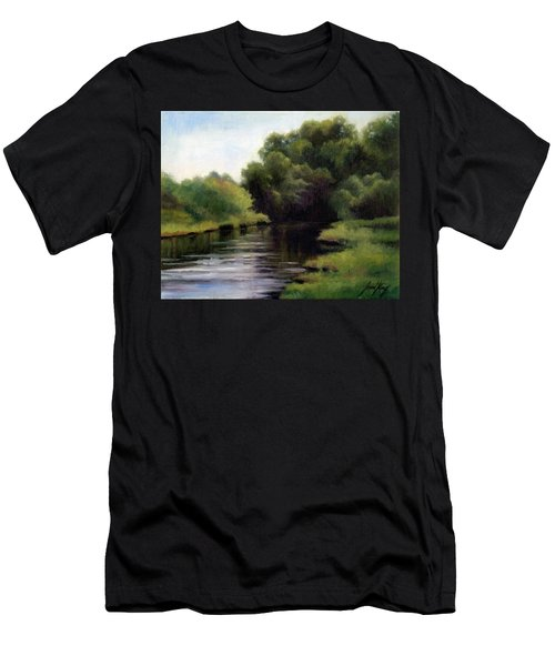 Men's T-Shirt (Slim Fit) featuring the painting Swan Creek by Janet King