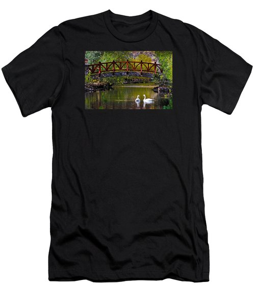 Men's T-Shirt (Slim Fit) featuring the photograph Swans At Caughlin Ranch II by Janis Knight