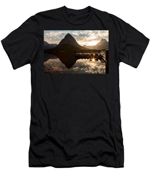 Swiftcurrent Lake Boats Reflection And Flare Men's T-Shirt (Athletic Fit)