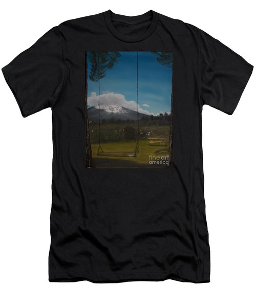 Men's T-Shirt (Slim Fit) featuring the painting Swing On Mt Hoods Fruit Loop by Ian Donley