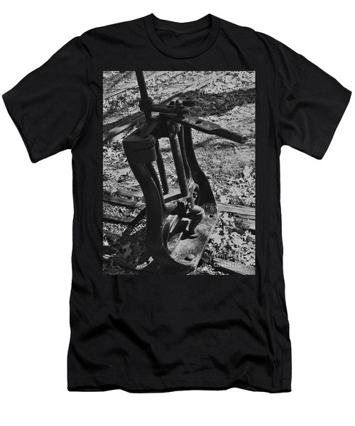 Men's T-Shirt (Slim Fit) featuring the photograph Switching Tracks by Sara  Raber