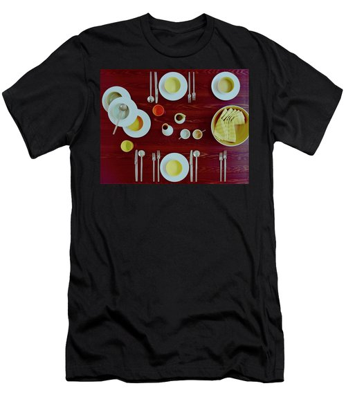 Tableware Set On A Wooden Table Men's T-Shirt (Athletic Fit)
