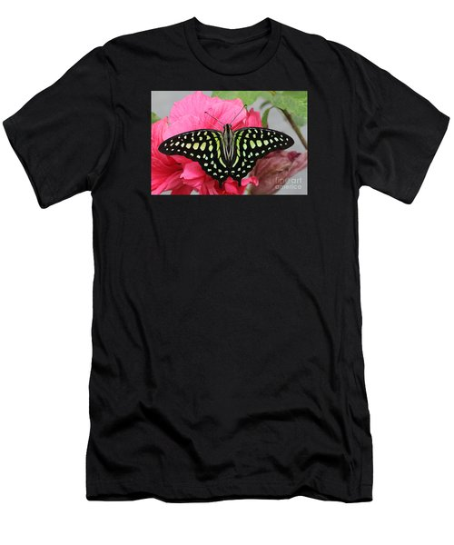 Men's T-Shirt (Slim Fit) featuring the photograph Tailed Jay Butterfly #6 by Judy Whitton