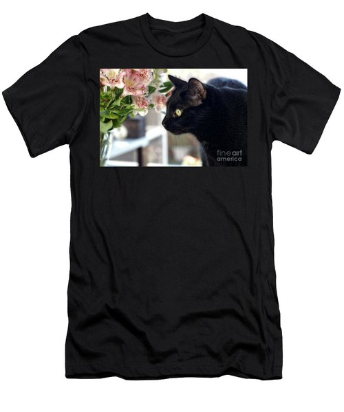 Men's T-Shirt (Slim Fit) featuring the photograph Take Time To Smell The Flowers by Peggy Hughes