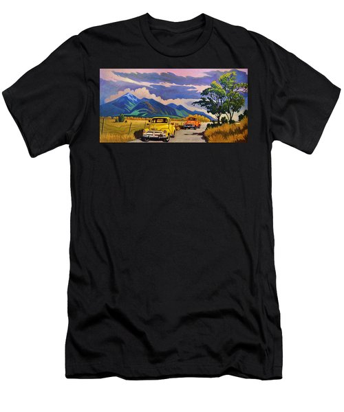 Taos Joy Ride With Yellow And Orange Trucks Men's T-Shirt (Athletic Fit)