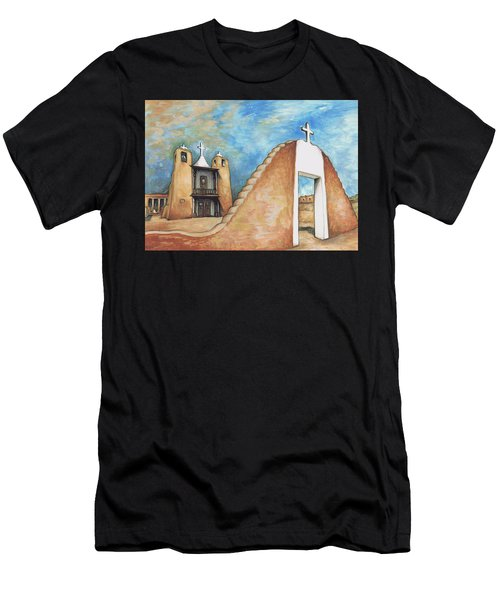 Taos Pueblo New Mexico - Watercolor Art Painting Men's T-Shirt (Athletic Fit)
