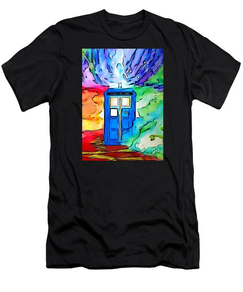 Men's T-Shirt (Slim Fit) featuring the drawing Tardis Illustration Edition by Justin Moore
