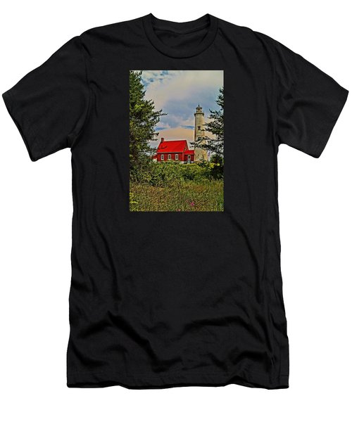 Tawas Point Light Retro Mode Men's T-Shirt (Athletic Fit)