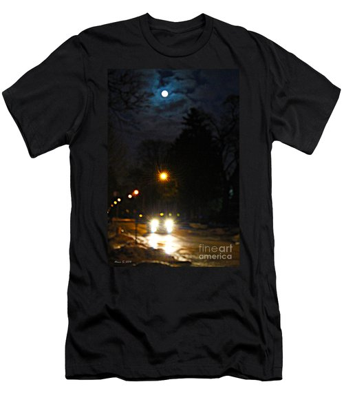 Men's T-Shirt (Slim Fit) featuring the photograph Taxi In Full Moon by Nina Silver
