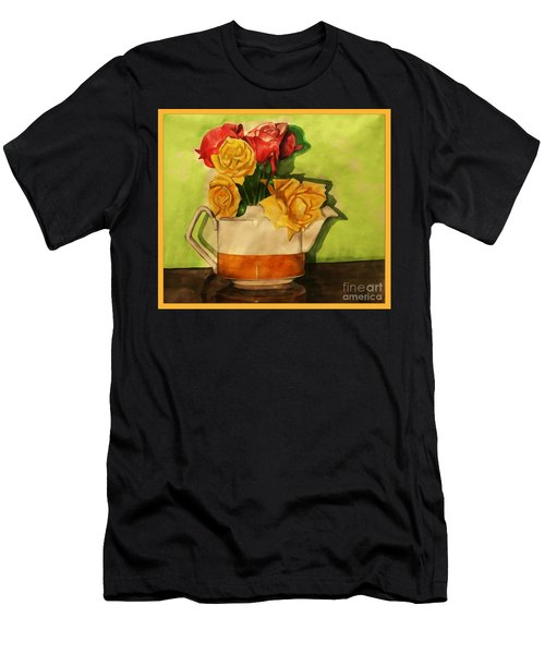 Tea Roses Bordered Men's T-Shirt (Athletic Fit)