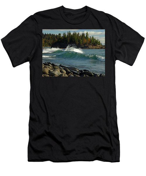 Teal Blue Waves Men's T-Shirt (Athletic Fit)