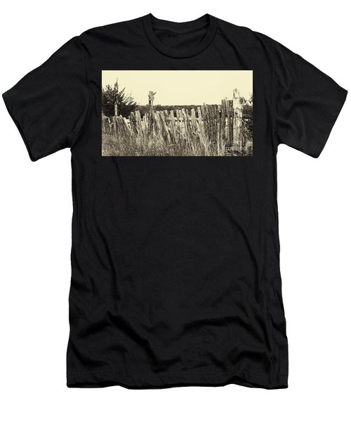 Texas Fence In Sepia Men's T-Shirt (Athletic Fit)
