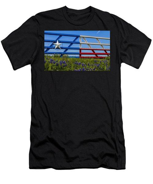 Texas Flag Painted Gate With Blue Bonnets Men's T-Shirt (Athletic Fit)
