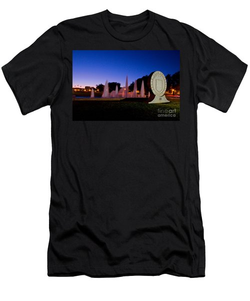 Men's T-Shirt (Athletic Fit) featuring the photograph Texas Tech University Seal And Blue Sky by Mae Wertz