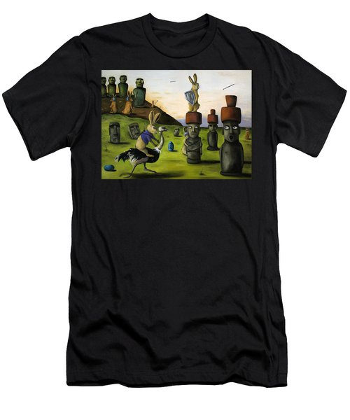 The Battle Over Easter Island Men's T-Shirt (Slim Fit) by Leah Saulnier The Painting Maniac