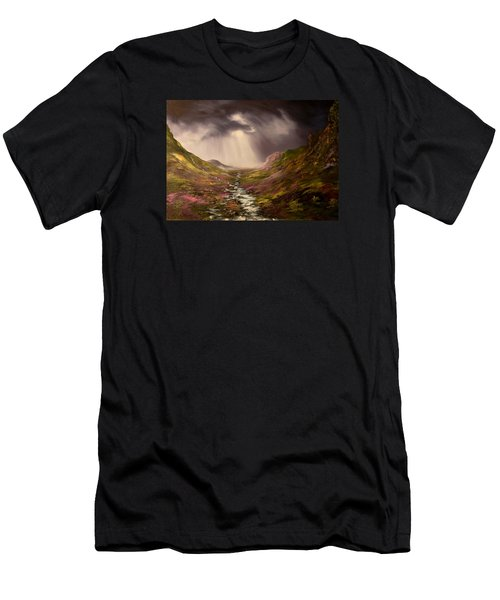 Men's T-Shirt (Slim Fit) featuring the painting The Cairngorms In Scotland by Jean Walker