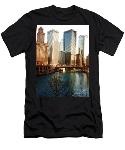 Men's T-Shirt (Slim Fit) featuring the photograph The Chicago River From The Michigan Avenue Bridge by Mariana Costa Weldon