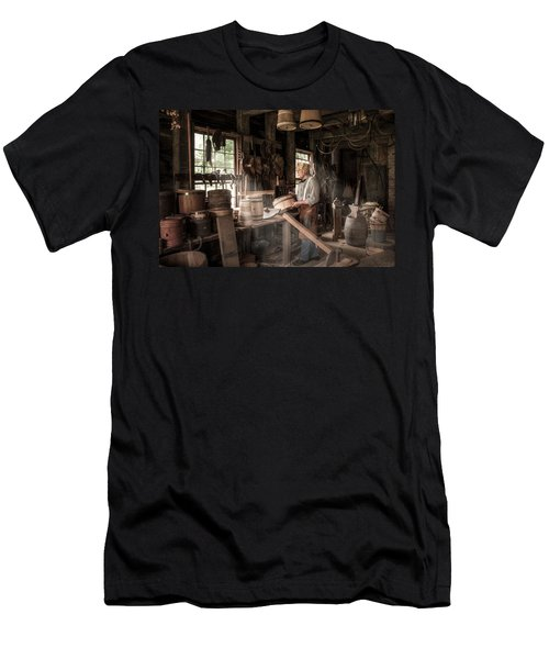 Men's T-Shirt (Slim Fit) featuring the photograph The Cooper - 19th Century Artisan In His Workshop  by Gary Heller