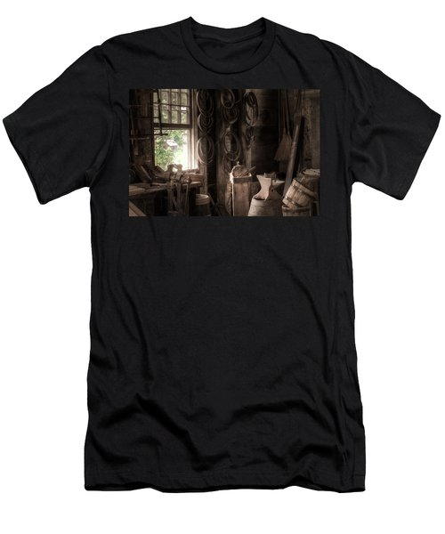 Men's T-Shirt (Slim Fit) featuring the photograph The Coopers Window - A Glimpse Into The Artisans Workshop by Gary Heller