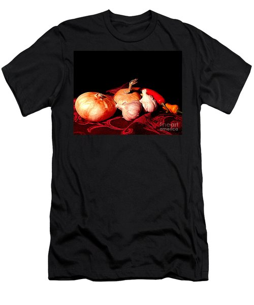 New Orleans Onions, Garlic, Red Chili Pepper Used In Creole Cooking A Still Life Men's T-Shirt (Slim Fit) by Michael Hoard
