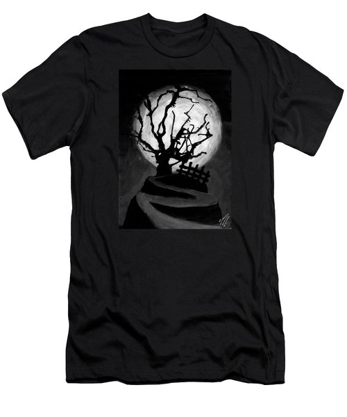 Men's T-Shirt (Slim Fit) featuring the painting The Crooked Tree by Salman Ravish