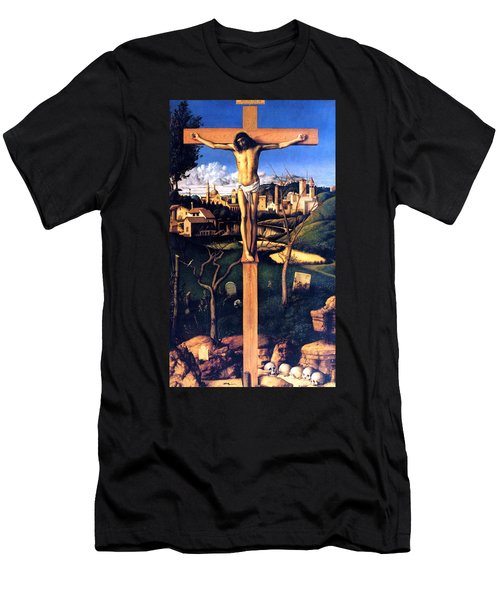 Men's T-Shirt (Slim Fit) featuring the painting The Crucifixion 1503 Giovanni Bellini by Karon Melillo DeVega