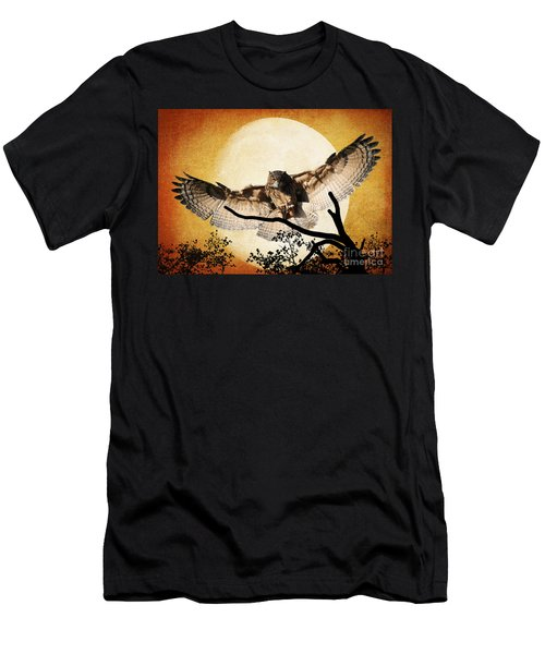 The Eurasian Eagle Owl And The Moon Men's T-Shirt (Athletic Fit)