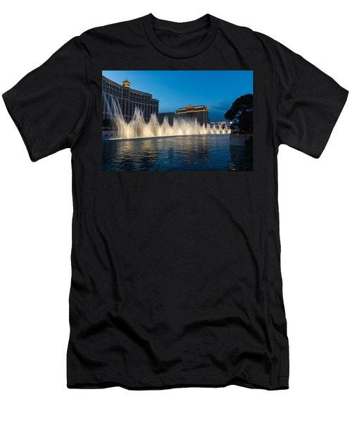 The Fabulous Fountains At Bellagio - Las Vegas Men's T-Shirt (Slim Fit) by Georgia Mizuleva
