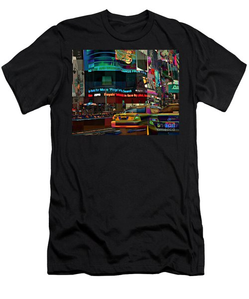 The Fluidity Of Light - Times Square Men's T-Shirt (Slim Fit) by Miriam Danar
