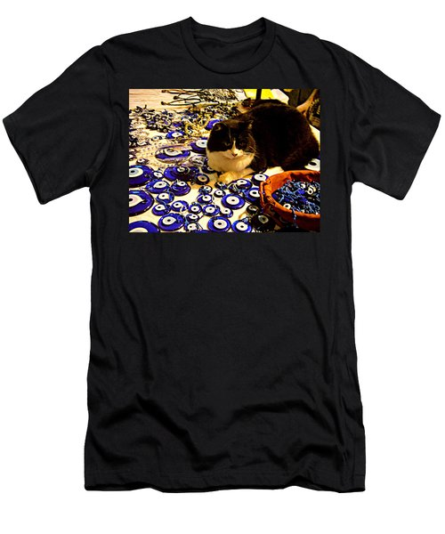 Men's T-Shirt (Slim Fit) featuring the photograph The Guard Of Evil Eye Beads by Zafer Gurel