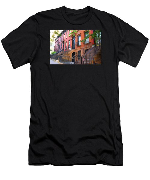 The Historic Brownstones Of Brooklyn Men's T-Shirt (Slim Fit) by Dora Sofia Caputo Photographic Art and Design