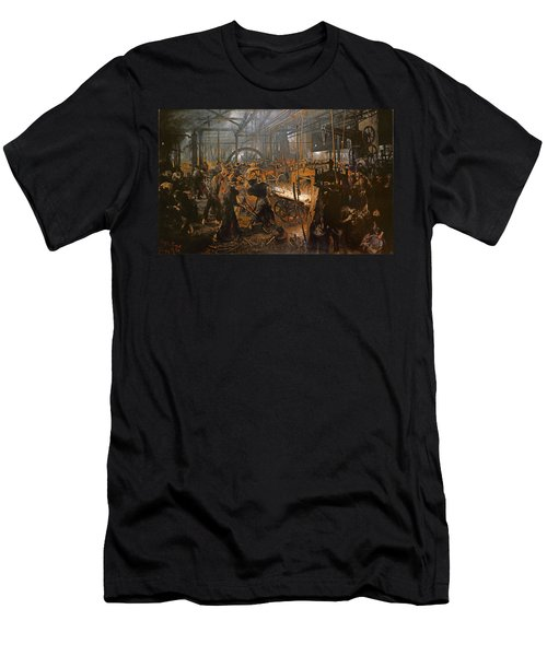 The Iron-rolling Mill Oil On Canvas, 1875 Men's T-Shirt (Slim Fit) by Adolph Friedrich Erdmann von Menzel