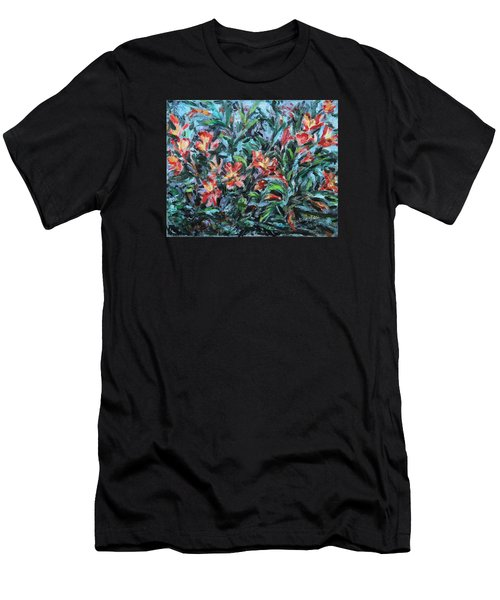 Men's T-Shirt (Slim Fit) featuring the painting The Late Bloomers by Xueling Zou
