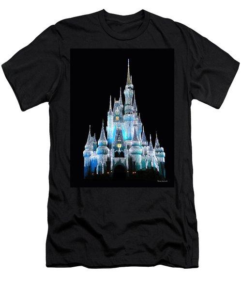 The Magic Kingdom Castle In Frosty Light Blue Walt Disney World Men's T-Shirt (Slim Fit) by Thomas Woolworth