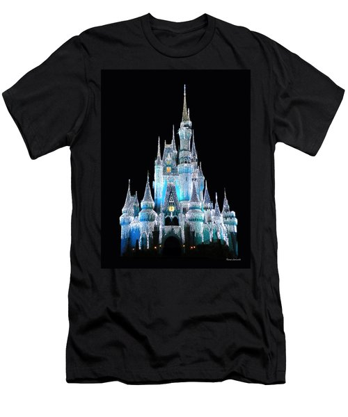 The Magic Kingdom Castle In Frosty Light Blue Walt Disney World Men's T-Shirt (Athletic Fit)